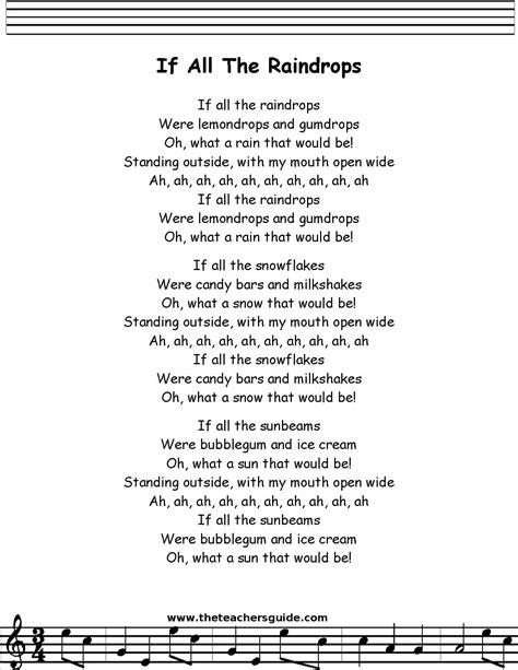 printable lyrics baby beluga if all the raindrops lyrics printout music docent