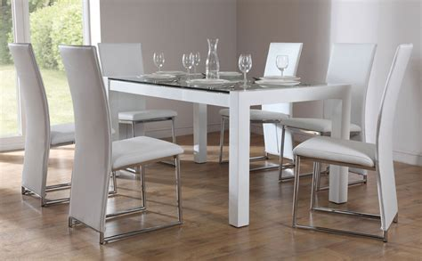 venice athens white gloss glass dining table 4 6
