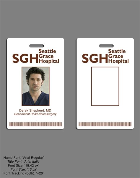 Greys Anatomy Seattle Grace Hospital I D Badge Set Images Frompo Hospital Id Badge Template