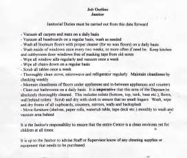 Janitorial Description by Janitor Description Images Janitorial Duties Must Be Carried Be Carried Out From This Date