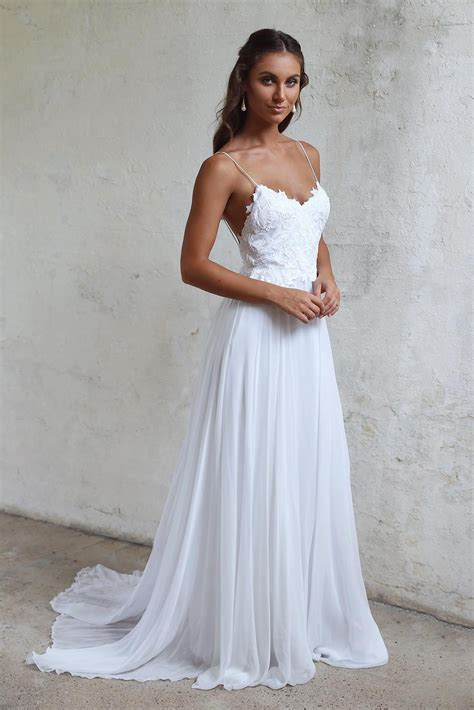 simple   spaghetti straps open  summer wedding dress