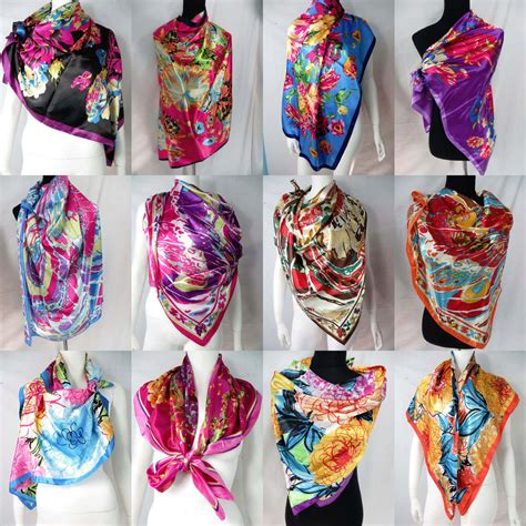 lot of 100 artificial silk 39 quot satin square scarves shawl