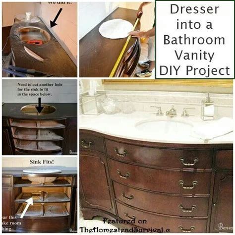 how to make a dresser into a bathroom vanity dresser into bathroom vanity diy furniture pinterest