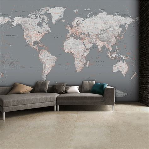 Feature Wallpaper For Grey Walls | detailed silver grey world map feature wall wallpaper