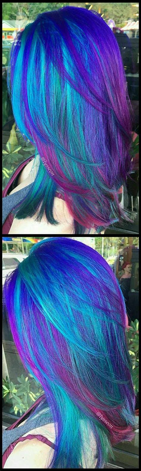 dyed hairstyles purple electric blue purple dyed hair by lysseon rainbow