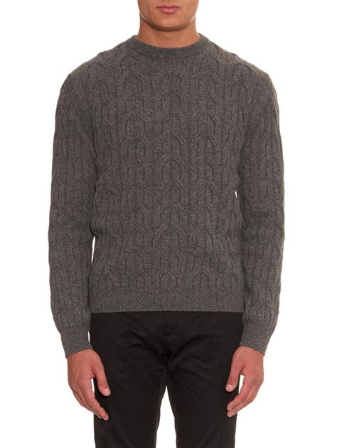 cable knit wool sweater lanvin cable knit wool sweater in gray for lyst
