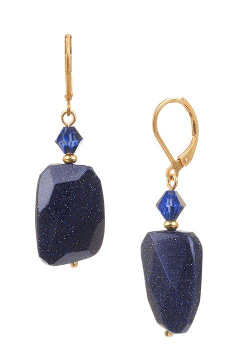 navy blue goldstone drop earrings blue gold earrings