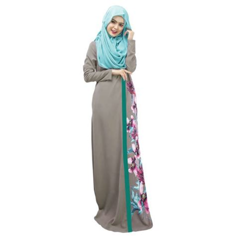 Maxi Dress Muslim Dress Wanita Wilsa Maxi kaftan abaya jilbab islamic muslim floral sleeve maxi dress in dresses