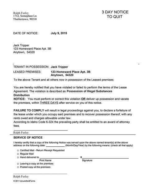 sle eviction notice for nonpayment idaho 3 day notice to quit ez landlord forms