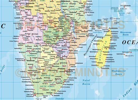 africa map sea digital vector map of africa region political with