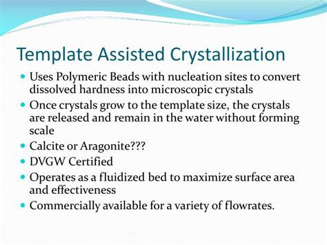 Ppt Evaluation Of Alternatives To Domestic Ion Exchange Water Softeners Wrf 08 06 Powerpoint Template Assisted Crystallization