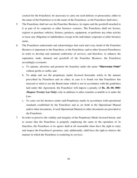 franchise agreement template franchise agreement sle template free
