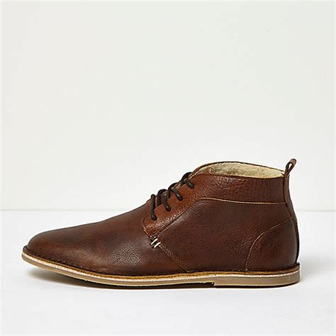 brown borg lined leather desert boots boots shoes