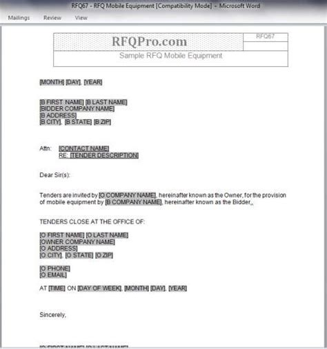 RFQ Templates   RFP Templates   Free Sample Request for