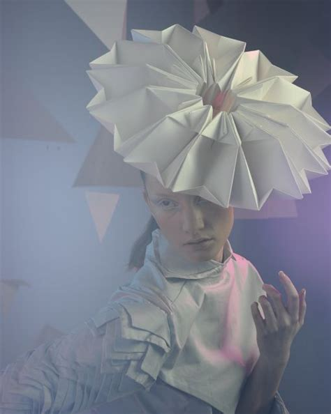 Origami Hats Designs - paper couture origami fashion headpiece with 3d