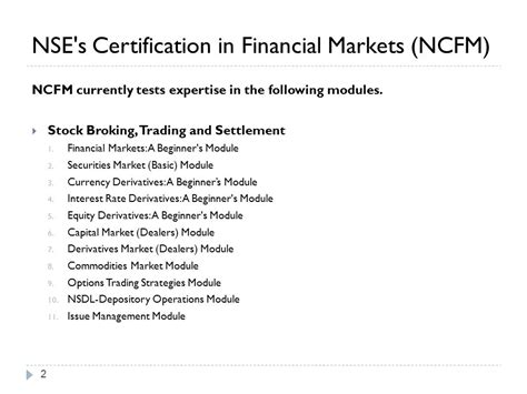 Mba In Financial Markets Nse by By Prof Amarpreet Singh Ppt