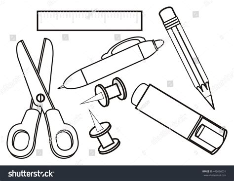 school stationery coloring pages preschool coloring stationery items stock illustration