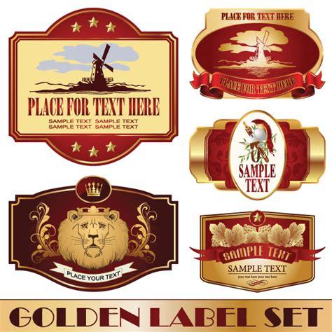 Golden Bottle Of Wine Labels Vector 02 Free Download Wine Label Template Photoshop