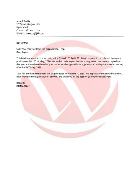 Relieving Sample Letter Format, Download Letter Format