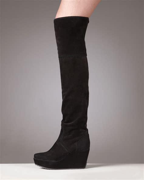 wedge knee boots donna karan new york suede wedge knee boot in black lyst
