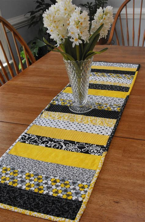 yellow pattern table runner yellow gray black and white quilted table runner 35 00