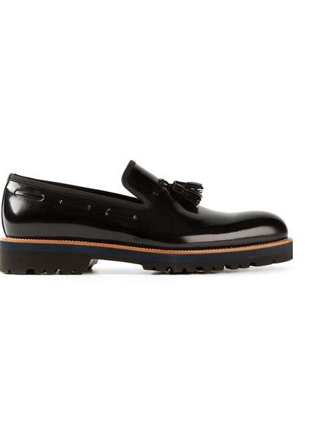 armani loafers for lyst giorgio armani tassel loafers in black for