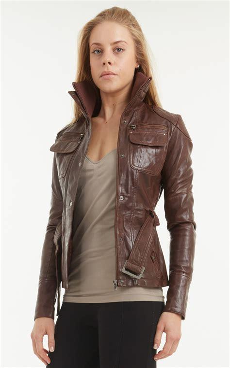 ladies brown leather biker ladies brown jacket outdoor jacket