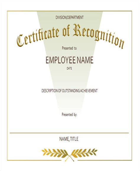 employee recognition certificate templates employee award templates images