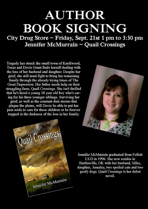 book signing poster template mcmurrain book signing follett tx