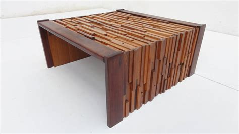 Tropical Coffee Tables Brutalist Mixed Tropical Wood Coffee Table By