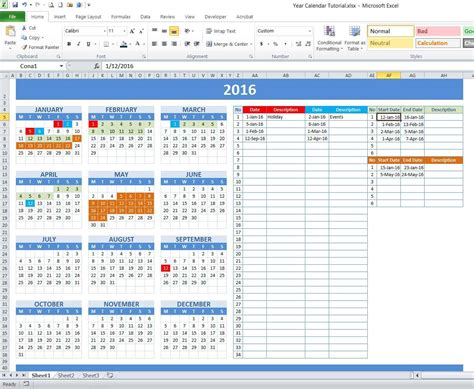 how to make a calendar with excel how to create year and school calendar with dynamic date