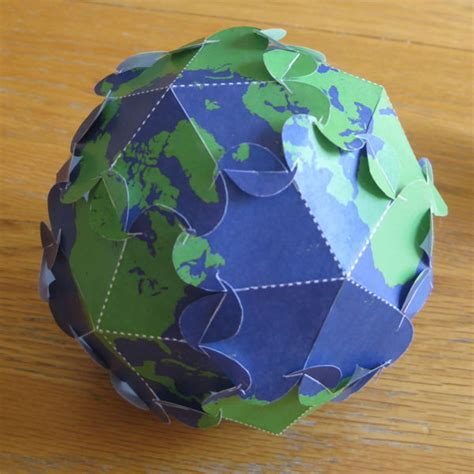 How To Make Paper Earth - puzzle earth globe for free papercraft