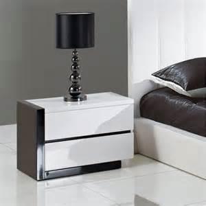 Black And White Nightstand 2 Drawer Nightstand Glossy White Black At
