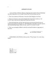affidavit of loss template affidavit of loss sle