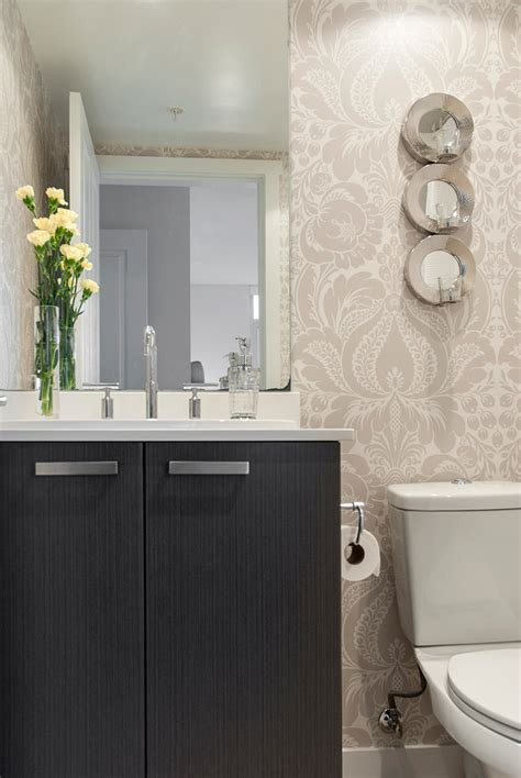 damask bathroom damask wallpaper dining room transitional with centerpiece