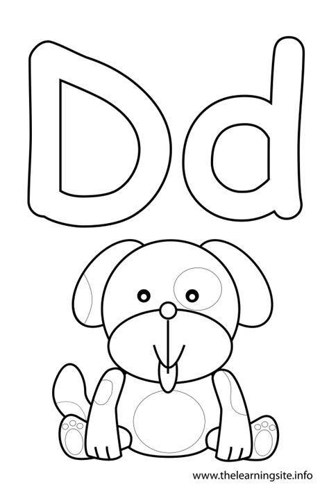 letter d coloring page dog consonant sound coloring