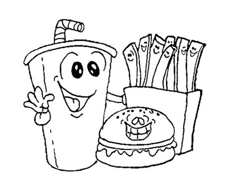 coloring pages of food and drinks fast food burger with drink coloring page kids coloring