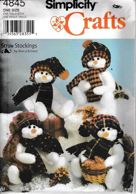 simplicity pattern for christmas stocking simplicity crafts 4845 snowman sewing pattern christmas