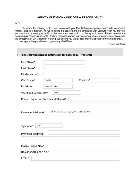 exle questionnaire for research paper top 5 resources to get free sle survey templates word