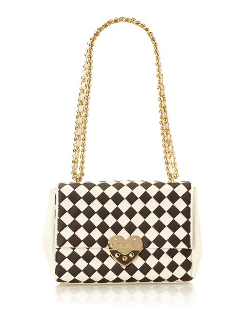 Moschino Cheap Chic Slitted Shoulder Bag by Moschino Cheap Chic Small Shoulder Bag In Beige Brown
