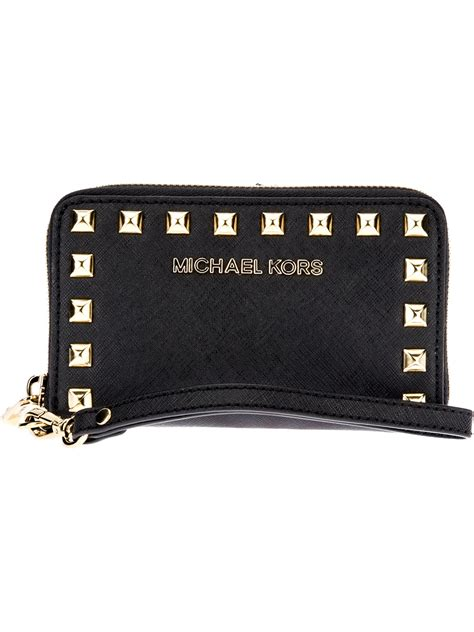 Studded Wallet lyst michael kors studded wristlet wallet in black