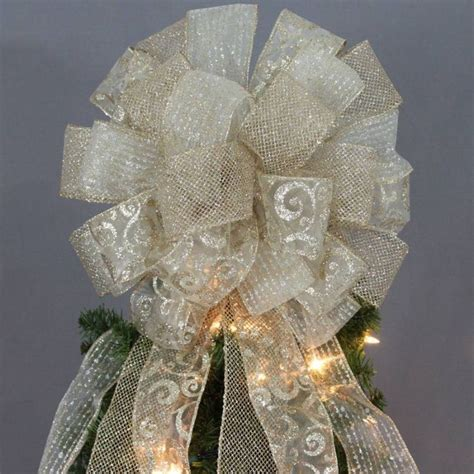 gold sparkle mesh swirl christmas tree topper bow trees