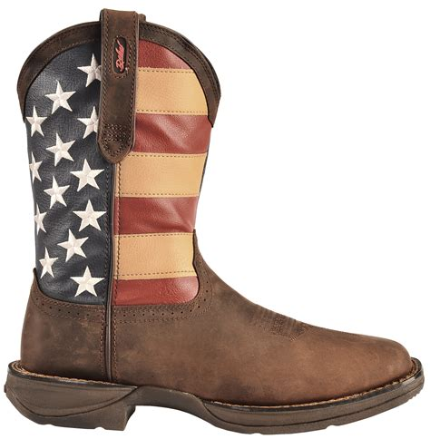 The Boots Of by Durango Rebel American Flag Cowboy Boots Square Toe