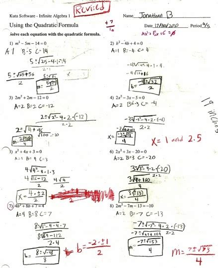 Quadratic Formula Worksheet With Answers by Quadratic Equation Worksheets Worksheets