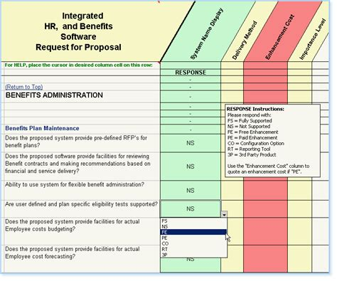 Hr Software Selection Rfp Human Resource Management Software Hris Requirements Template
