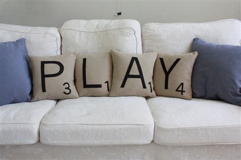 Play Scrabble Letter Pillows Transitional Decorative