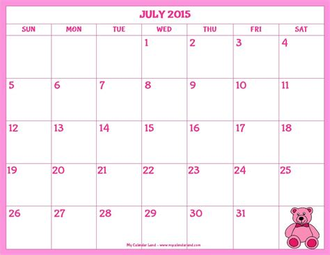 printable schedule july 2015 7 best images of cute july 2015 calendar printable cute