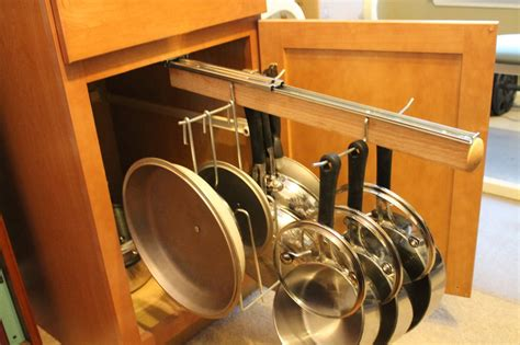 kitchen cabinet pot and pan organizers pull out under cabinet hanging pot and pan lid rack