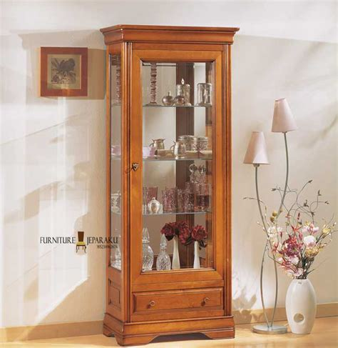 Lemari Kayu Kaca lemari kaca hias kayu jati furniture asli jepara mebel