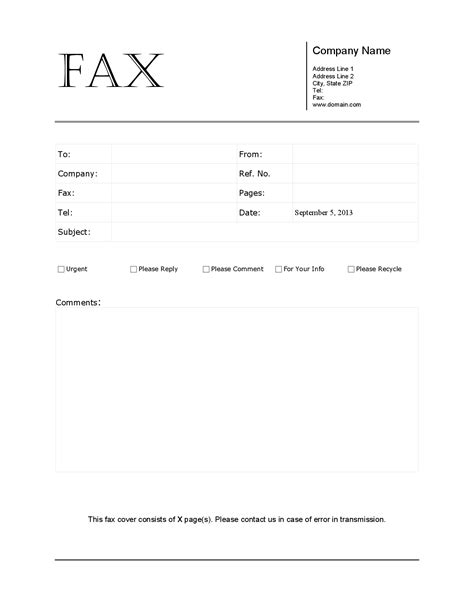 Template Fax Cover Sheet by Doc Fax Cover Letter